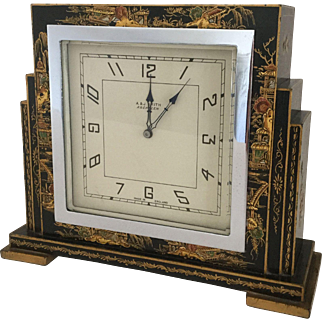 Black Chinoiserie Art Deco Desk Clock