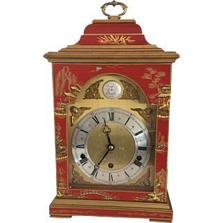 Red Chinoiserie Elliott Three Train Bracket Clock