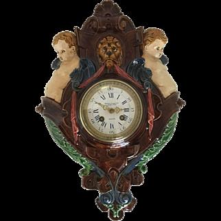 Palissy Ware Majolica Wall Clock