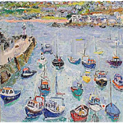 Linda Weir, English Artist (Born 1951) - Misty Harbour, St Ives
