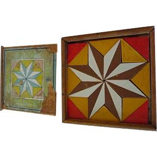 Two Eight Pointed Colourful Star Puzzle Quilt Patterns Wood Original Box Late 19th Century