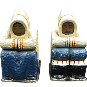 Grenfell Industries Newfoundland Inuit Eskimo Bookends Carved Wood Handpainted