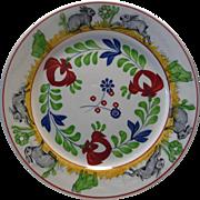19TH Century Antique Stick Spatter Sponge Rabbitware Transferware Plate: Frogs & Rabbits