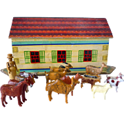 19th Century Large Toy Child's Noah's Ark 14 Animals  and 1 Person