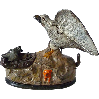 American Eagle and Eaglets Painted Cast Iron Mechanical Bank 1883