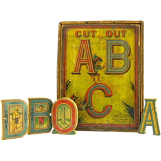 Complete Set of 27 Whitney Reed Cut Out ABC Wood Blocks with Original Box circa 1899.