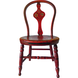 Antique Original Paint Child's Red Chair 19th Century Chester Nova Scotia