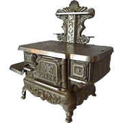 "American Cast Iron Nickel Plated Toy Salesman's Sample Child Stove ""Prize"" circa 1900"