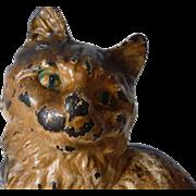 Painted Cast Iron Sitting Full Figure Persian Cat Doorstop Door Stop Hubley