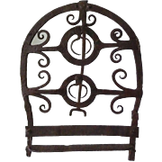 Ornate Figural Hand Forged Iron Hearth Toaster Rack 18th Century