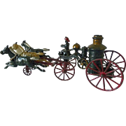 Kenton Toy Co. Painted Cast Iron Fire Engine with Three  Galloping Horses c 1910