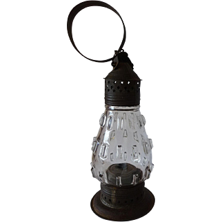 Whale Oil Lantern 19th Century Pierced Tin with Blown Glass Globe in Cleat or Hobnail Pattern