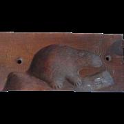 Antique Maple Sugar Mold Quebec Beaver 2 Piece