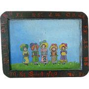 School Slate Primitive Oil Painting 19th Century