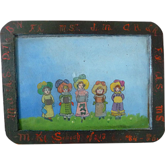 School Slate Primitive Oil Painting 19th Century