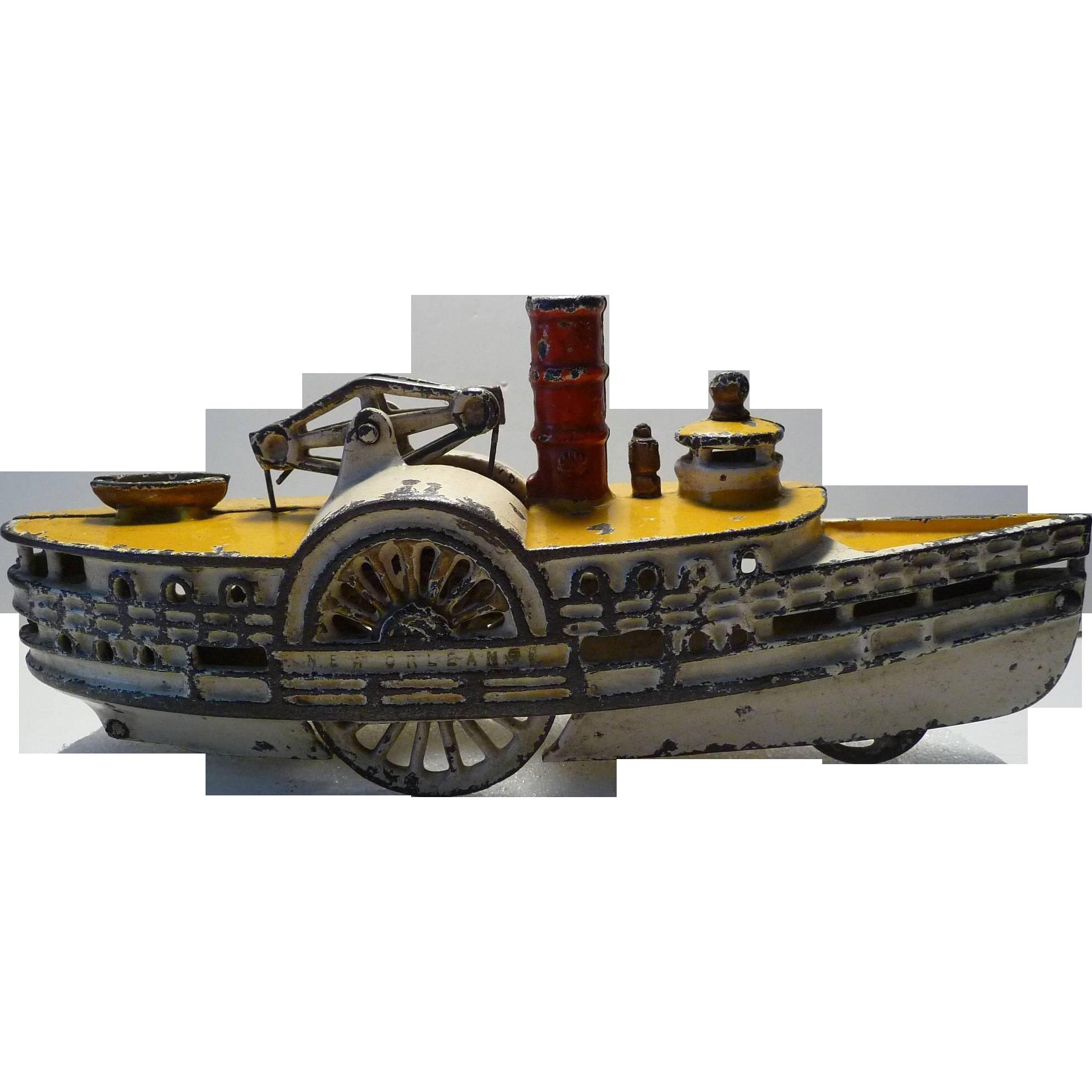 Painted Cast Iron Sidewheel Paddlewheel Steamboat ...