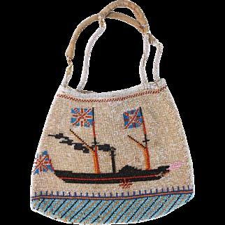 Antique 19th Century Native North American or British Beaded Trade Purse Sidewheeler Steamship