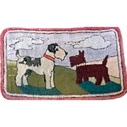 Folk Art Hooked Rug Wirehaired Terrier and Scottie Dogs