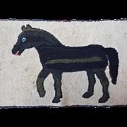 Folk Art Hooked Rug Horse