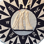 Nova Scotia East Coast Hooked Rug Bluenose Ship and Compass Mounted