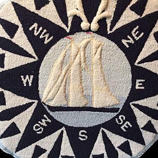 Nova Scotia East Coast Hooked Rug Bluenose Ship and Compass Mounted