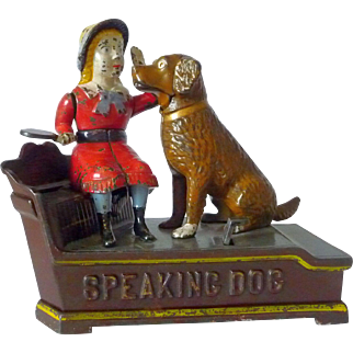 J & E. Stevens Painted Cast Iron Speaking Dog Mechanical Bank 1885 Patent