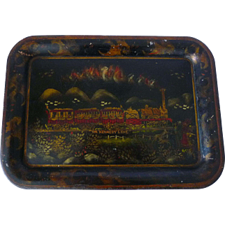 Painted Tole Tin Tray Train Scene