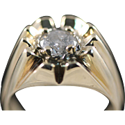 WOW! Vintage Men's 14K Y/G 1.5ct Diamond Gypsy Ring