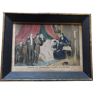 Currier and Ives lithograph: The Death of Harrison, April 4 A.D. 1841, with frame