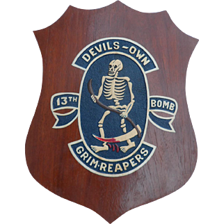"Vintage military plaque ""Devil's - Own Grim Reapers 13th Bomb"