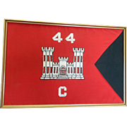 Military flag in frame with plaque for the War Hogs 44 C
