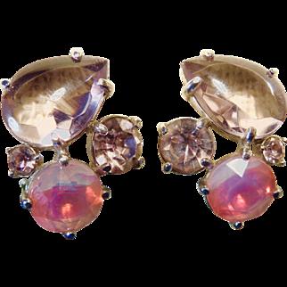 Vintage 1950s Schiaparelli Fantasy Shocking Pink Earrings