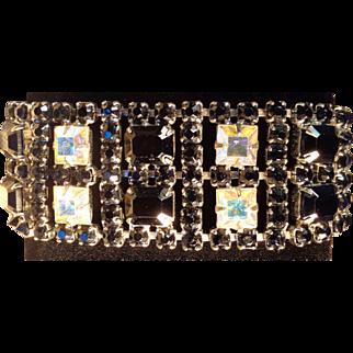 Vintage Weiss c.1955-60s Black & Aurora Borealis Rhinestone Bracelet