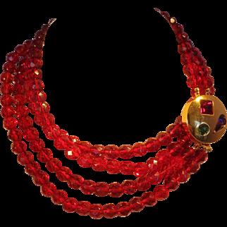 Vintage 1979 Givenchy Paris Opera length Jewel-Tone Necklace