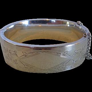 Art Deco 1940s Sterling Silver Hinged Bangle Bracelet