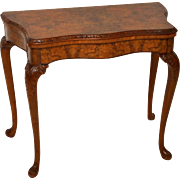 Burr Walnut Card Table