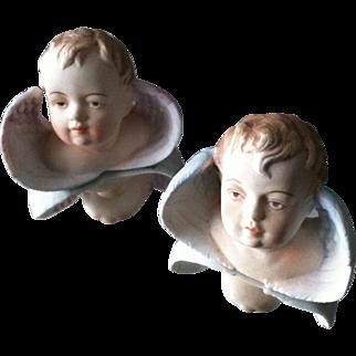 Circa 1940's Bisque Porcelain Pair of Cherubs Putti