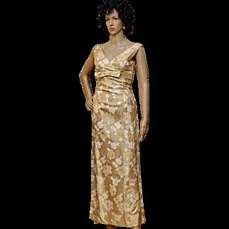 1950's Gold Metallic Regency Wiggle Gown, Floral Damask, Mad Men Era