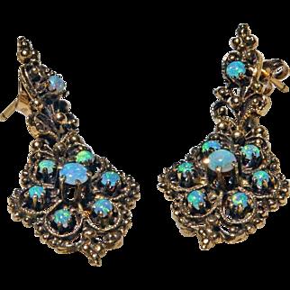1940's Victorian Style Ethiopian Opal Drop 14 K Gold Filigree Earrings