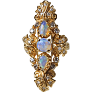 Triplet Opal Diamond Boat Ring in 14 Karat Gold - Mid Century Baroque style - Size 7