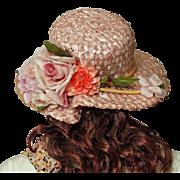 1950's Abraham & Strauss Wide Brimmed Pink Cellophane Hat