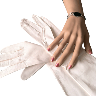 White Kid Leather Gloves, Silk Lined Mid Century Italian