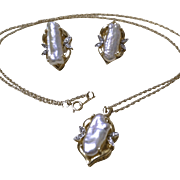 14K Set of Cultured Baroque Freshwater Pearl Earrings and Necklace with Diamonds