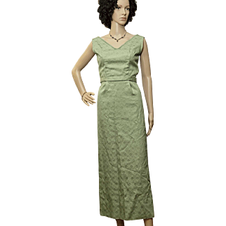 1950's Green Damask Wiggle Gown, Mad Men Era