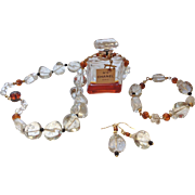 Vintage Pools of Light Rock Crystal CHANEL Scent Artisan Necklace Set with 14 Karat Gold Orchid