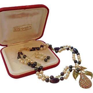 Upcycled Majorica Simulated Pearl Necklace with Genuine Amethyst, Rhinestone Pavé Lavaliere, Earrings, & Majorica Case