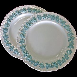 Wedgwood of Etruria & Barlaston Embossed Celadon 10-inch Dinner Plate Pair - 1966