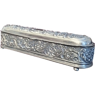 Wilcox Antique Embossed Vanity Casket, Distressed Quadruple Plate - 19th C.