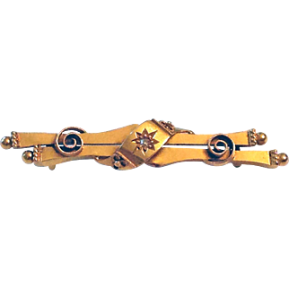 Victorian Etruscan Bar Brooch with Rose Cut Diamond Accent 15 Karat Gold/Hallmarked 1825