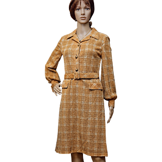 1970's TRICOSA Metallic Plaid Shirtwaist Dress
